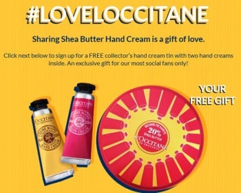 Free L'Occitane Tin with Two Hand Creams PrettyThrifty.com
