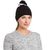 Expired: Amicale Cashmere Women's Black & White Pom Beanie