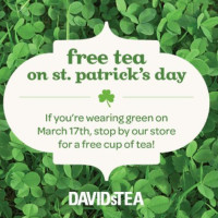 Expired: Free Cup of Tea at David's Tea Locations by Wearing Green on St. Patrick's Day