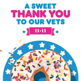 Free Donut for Veterans at Dunkin on November 11th