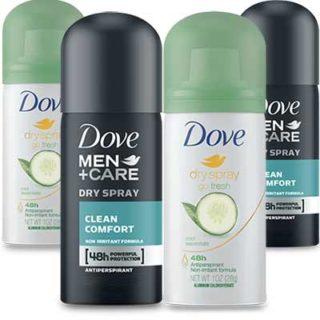 Free Dove Dry Spray Antiperspirant Sample