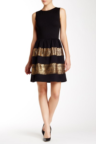 Sleeveless Ponte Fit and Flare Dress with Metallic Inserts